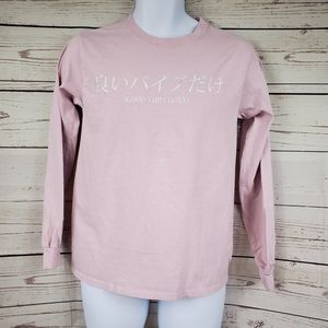 SCW pink long sleeve Good Vibes Only tshirt S